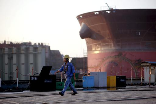 A worker at China State Shipbuilding in Guangzhou