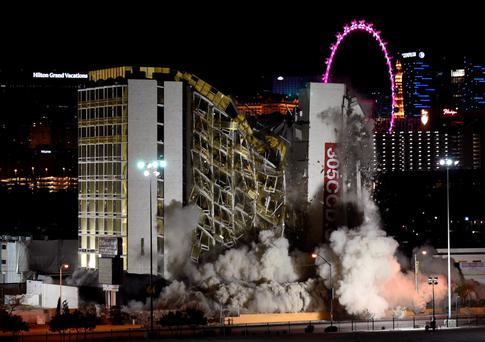 The Clarion Hotel and Casino is imploded on February 10, 2015 in Las Vegas, Nevada. It is the first casino implosion in Las Vegas since the New Frontier Hotel & Casino was brought down in 2007. Photo: Getty Images