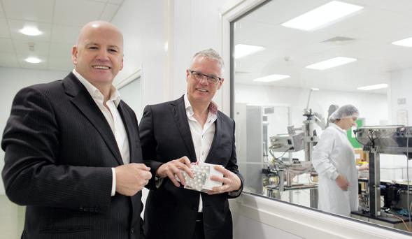 THE ACCIDENTAL ENTREPRENEUR: Sean Gallagher with Pascal Keogh of Milmount Healthcare at their plant in Stamullen, Co Meath. Photo: David Conachy