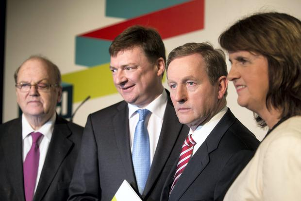 Taoiseach Enda Kenny,Tanaiste Joan Burton and Minister for Finance Michael Nooan and Chief Executive of SBCI, Mr Nick Ashmore at the Strategic Banking Corporation of Ireland (SBCI) launch for the first phase of loans for SMEs and agri-business. Photo: Mark Condren.