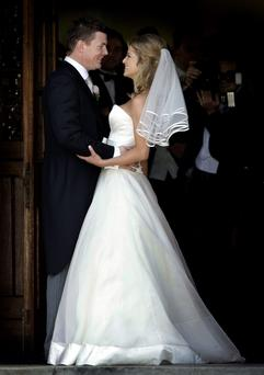 Brian O Driscoll and Amy Huberman on their wedding day yesterday at St Josephs Church in Aughavas Co Leitrim.