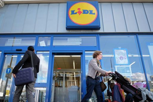 Shoppers outside a Lidl store. Picture: Bloomberg