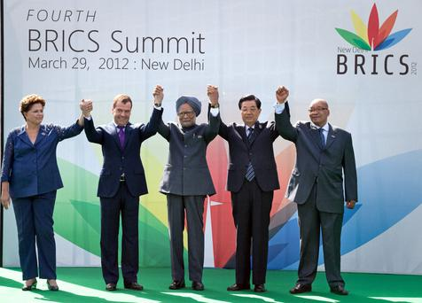 Dilma Rousseff, President of Brazil, Dmitry Medvedev, President of Russia, Dr Manmohan Singh, the then Prime Minister of India, Hu Jintao, the then President of China, and Jacob Zuma , President of South Africa, at summit in 2012 in New Delhi