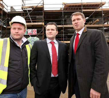 BACK ON THE SITE: From left, New Generation CEO Pat Crean and developers Greg and Hugh Kavanagh. Photo: Gerry Mooney