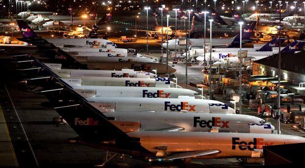 FedEx's global hub in Mephis, Tennessee