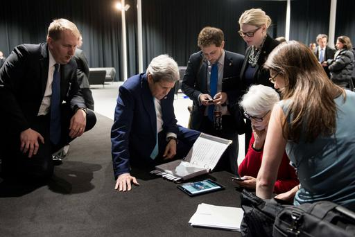 US Secretary of State John Kerry (scond left) and US Under Secretary for Political Affairs Wendy Sherman (second right) listen last week as US President Barack Obama address the US people about the status of the talks in Switzerland