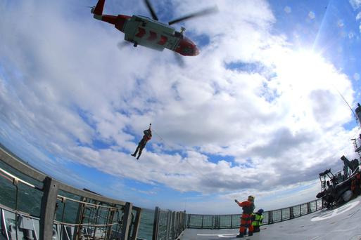 A Coast Guard helicopter in action at the Emergency Services National training exercise last year