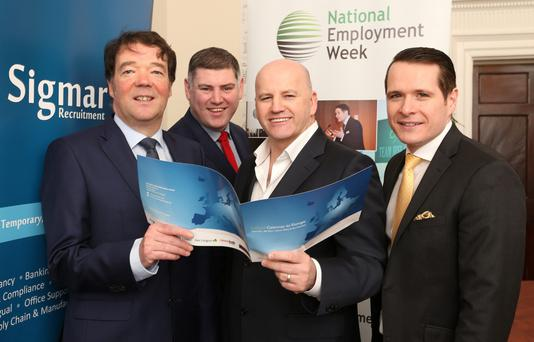 THE PROCESS: From left, Adie McGennis, Frank Farrelly, Sean Gallagher and Robert Mac Giolla Phadraig at Sigmar Recruitment. Photo: Gerry Mooney