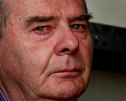 Businessman Sean Quinn becomes emotional during a support rally held for him in Ballyconnell, Co Cavan