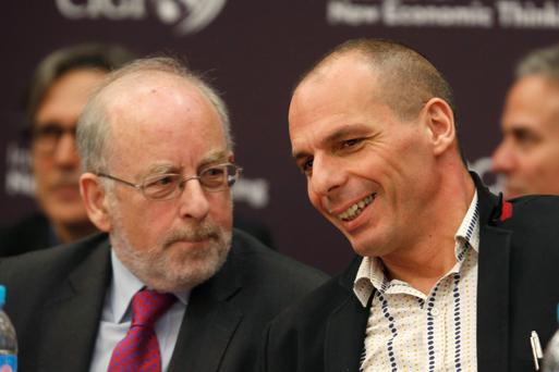 CRISIS: The Central Bank's Patrick Honohan with Greek finance minister Yanis Varoufakis
