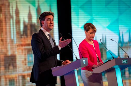 ELECTION COUNTDOWN: Ed Milliband was credited with winning last week's televised UK leaders' debate, as PM David Cameron was 'empty-chaired' for refusing to participate. Most 'polls of polls' have Milliband slightly ahead, with the vote, which could impact hugely on Ireland's business aspirations, set to go ahead on May 7. Photo: Stefan Rousseau/PA