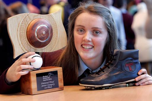 Shíofra Ryan from St Brendan's Community College in Birr, Co Offaly, won the top award in the senior category at this year's Student Enterprise Awards National Finals in Croke Park, organised by the Local Enterprise Offices. Photo: Mark Stedman