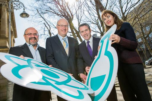 Prof Stefano Sanvito, AMBER SFI Research Centre, TCD; Prof Mark Ferguson, director general of Science Foundation Ireland; Minister for Skills, Research and Innovation, Damien English; and Prof Tia Keyes, Dublin City University at the announcement