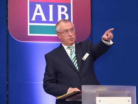 Richard Pym, chairman of AIB, at the bank's annual general meeting in the Bank Centre in Ballsbridge. Photo: Damien Eagers