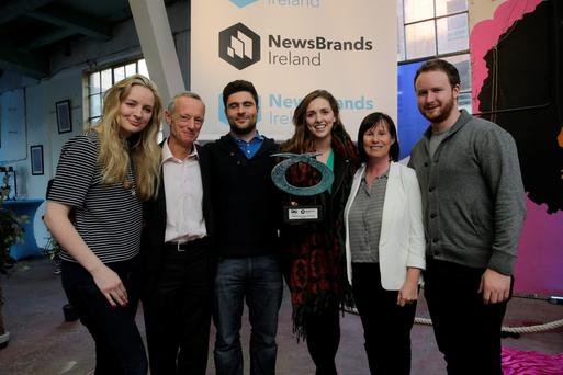 Vincent Crowley, chairman of Newsbrands Ireland, and Dara McMahon, co-ordinationg director Newsbrands Ireland with Emer Donohoe (left), Alex O'Connor, Corina Moran and Kevin O'Sullivan, PHD, winners of the POP Press Planning Competition 2015 at the launch