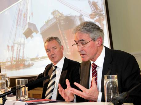 Pictured at the Tullow Oil AGM are Graham Martin, right, Tullow Oil Executive Director and Company Secretary, and Aidan Heavey, Tullow Oil Chief Executive, at the Royal College of Physicians of Ireland on Kildare Street, Dublin. Photo Mark S