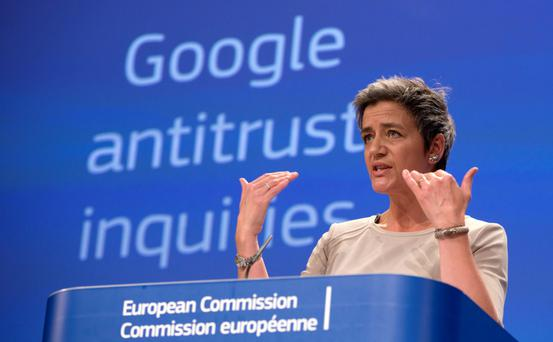 GRINDING OUT a RESULT: Europe's Commissioner for Competition Margrethe Vestager at a briefing on the Google anti-trust case. Photo: Virginia Mayo
