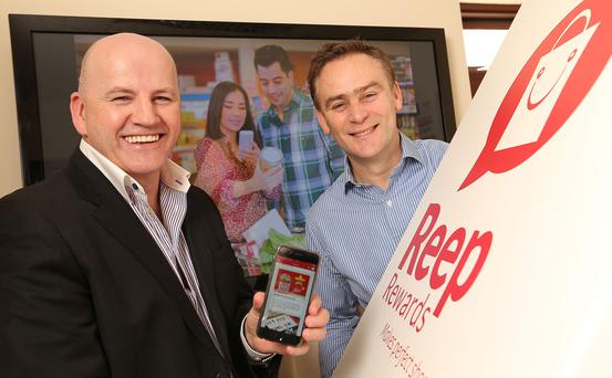 MARKETING MOTIONS: Sean Gallagher with James Lenehan, who set up Reep Rewards in 2013. Photo: Gerry Mooney