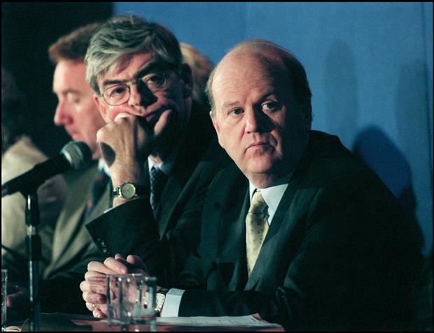 OLD WOUNDS: Noonan and Dukes in 2002. Today both men are over 70 years of age, embarking on a new battle to defend their reputations