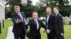 Herb Hribar plays ball with Taoiseach Enda Kenny