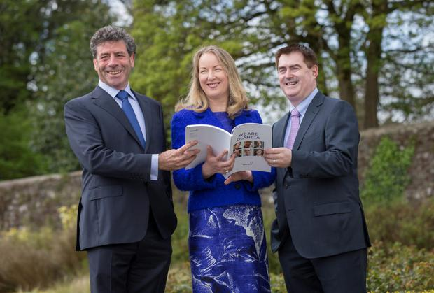 Glanbia group chairman Liam Herlihy, group managing director Siobhán Talbot and group finance director Mark Garvey at the company's agm in Kilkenny