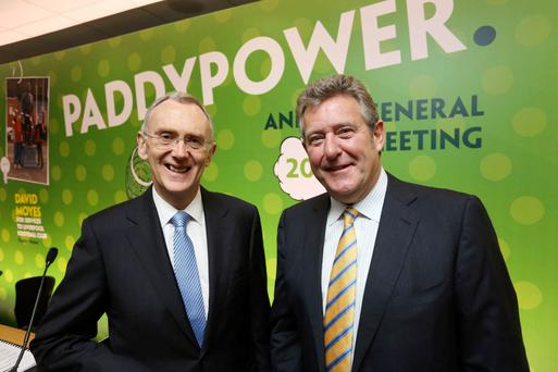 Incoming chairman Gary McGann and predecessor Nigel Northridge at the Paddy Power agm Photo: Gary O'Neill