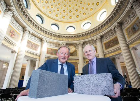 ANOTHER BRICK IN THE WALL: From left Tom Parlon, director-general of the Construction Industry Federation and Larry Byrne, managing director of Roadstone at the launch of Roadstone's new thermal liteblock system. Photo: Naoise Culhane