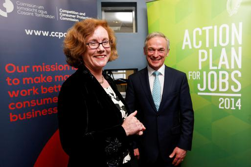 Minister for Jobs, Enterprise and Innovation Richard Bruton with Isolde Goggin, chairwoman of the Competition and Consumer Protection Commission, at the new organisation's launch late last year