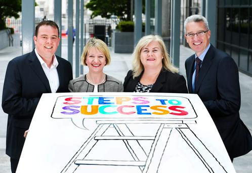 Pictured at the launch of the 2015 Ulster Bank Business Achievers Awards were: Founder and Joint Managing Director of 'Smarter Surfaces', Ronan Clarke; Director of Customer Experience and Products at Ulster Bank, Maeve McMahon; Joint Managing Director of g