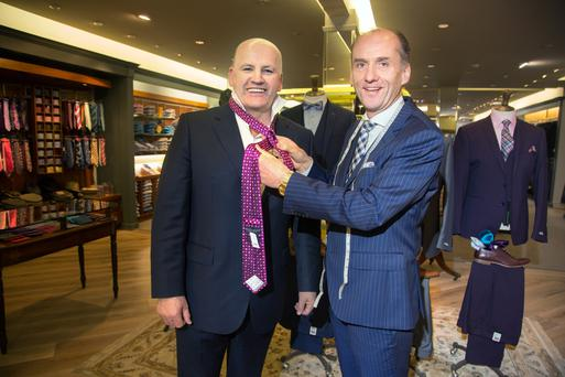 Sean Gallagher with Paul Galvin of Galvin Menswear in Tullamore, Co. Offaly. Photo: Tony Gavin