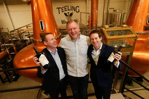 Jack and Stephen Teeling with Alex Chasko, Master Blender at the official opening of the new Teeling Whiskey Distillery and visitor centre in The Liberties, Dublin 8.