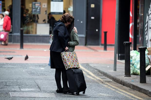 Staff leaving Clerys on O'Connell street