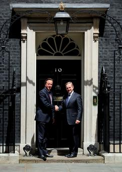 Enda Kenny and David Cameron at Downing Street on Thursday. Photo: Chris Radburn/PA