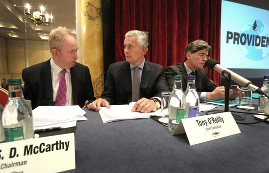 Chairman James SD McCarthy, chief executive Tony O'Reilly and technical director Dr John O'Sullivan at the agm yesterday