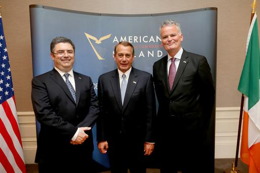 John Boehner with, left, Eamonn Sinnott, President of the American Chamber of Commerce in Ireland and Mark Redmond, Chief Executive of the American Chamber of Commerce in Ireland Photos: Julien Behal/Maxwells