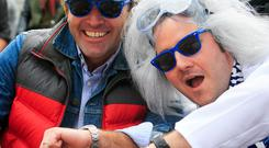Kenny Jacobs, left, and Robin Kiely, Ryanair's head of communications, as 'Back to the Future' characters to celebrate airline's 30th anniversary