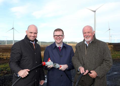 MEN OF ENERGY: At the launch of Gaelectric's Dunbeg wind farm in Co Derry last November, were, from left, Gaelectric corporate affairs manager Patrick McClughan; the then Northern Ireland finance minister Simon Hamilton; and Gaelectric CEO Brendan McGrath