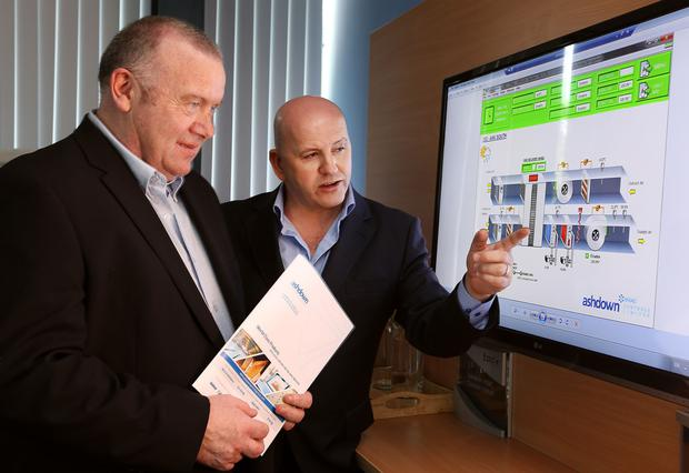 SMARTS: Sean Gallagher with Seamus McGlade of Ashdown Controls Group. Photo: Gerry Mooney