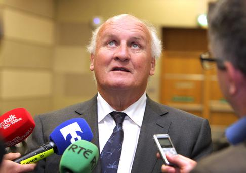 Aer Lingus chairman Colm Barrington speaks to the media at yesterday's extraordinary general meeting in Santry, Dublin.