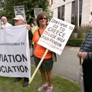 Therese Traynor among protesters outside the Aer Lingus EGM yesterday