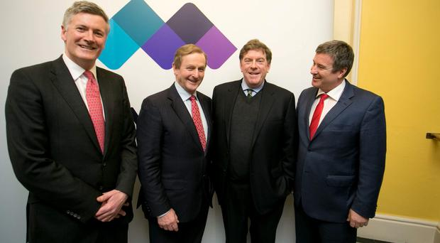 Adrian Howd, Malin chief investment officer, Taoiseach, Enda Kenny, Kelly Martin, Malin CEO and Malin chairman John Given at the launch of Malin's IPO