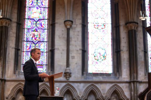 Bank of England governor Mark Carney delivers a speech at Lincoln Cathedral in England on the subject of interest rates last week