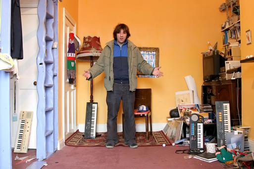 Comedian David O'Doherty in his flat. The Modest Adventures of David O'Doherty, Tuesday 29 May RT Two.