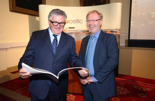 Petroceltic chief executive Brian O'Cathain and chairman Robert Adair before the AGM in Dublin yesterday. Photo: Damien Eagers