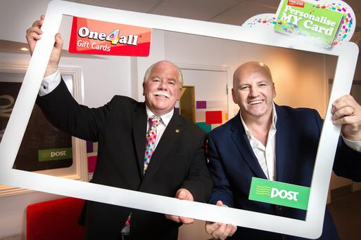 Michael Dawson of One4all gift vouchers in the frame with Sean Gallagher. Photo: Tony Gavin