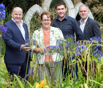Sean Gallagher with Rachel Doyle and her sons Barry and Fergal in Arboretum, Kilquade, Co Wicklow Photo: Tony Gavin