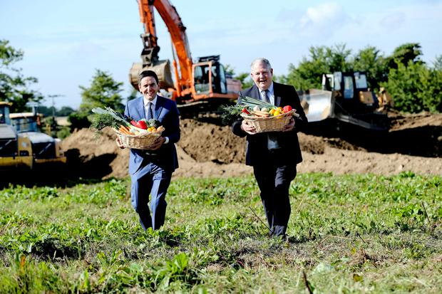 Edward Spelman, managing director of Ballymaguire Foods, with company chairman Michael Hoey on the site of the new food plant yesterday