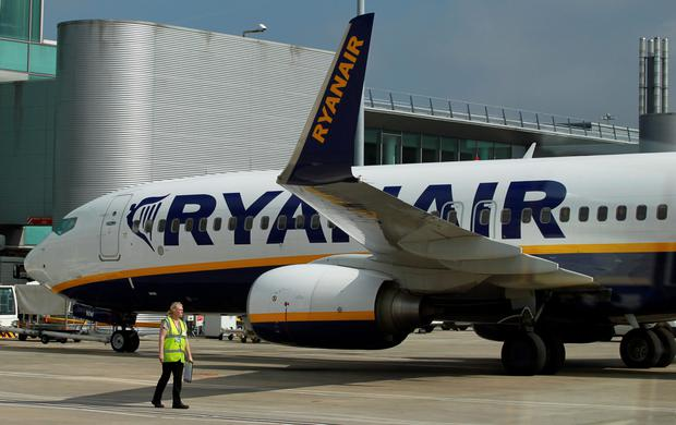 A Ryanair plane at Manchester Airport