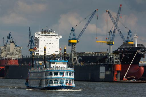 A container ship at Hamburg port as German exports showed major gains for the latest quarter