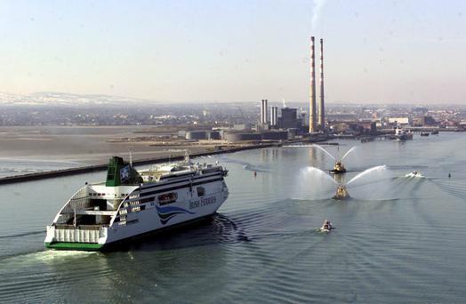 The Irish Ferries vessel Ulysses sails into Dublin Port.